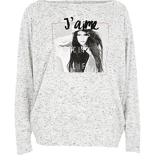 Grey 'J'aime' photo print batwing top