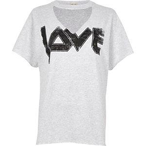 Grey 'love' print choker neck t-shirt