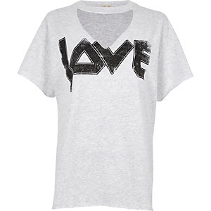 Grey 'love' print choker neck t-shirt