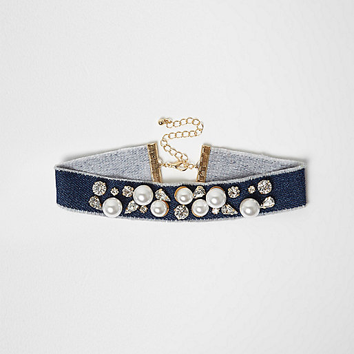 Blue denim pearl embellished choker