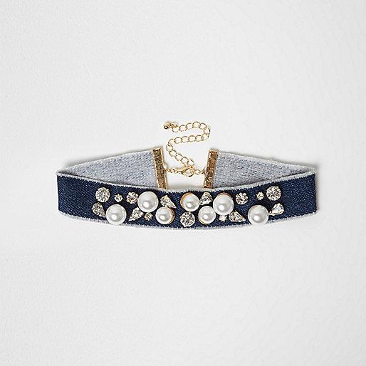 Blue denim pearl embellished choker