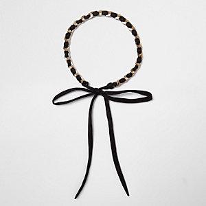 Black thread through gold chain bolo choker