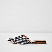 Black gingham print pointed mules