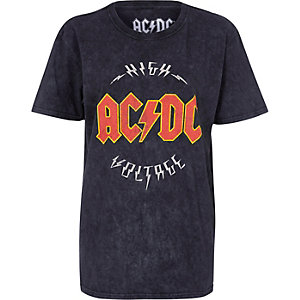 Black acid wash ACDC band boyfriend T-shirt