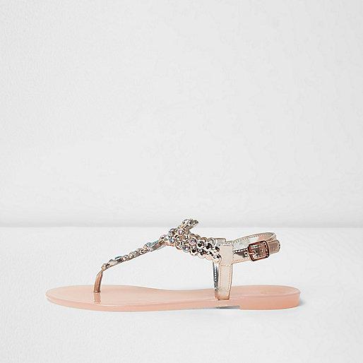 Pink rhinestone jelly sandals