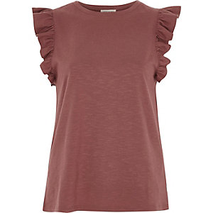 Dark red frill sleeve top