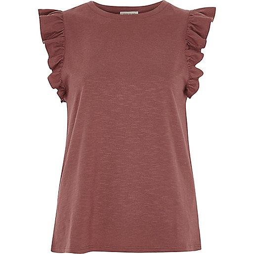 Dark red frill sleeve top