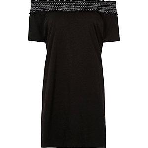 Black shirred bardot short sleeve midi dress