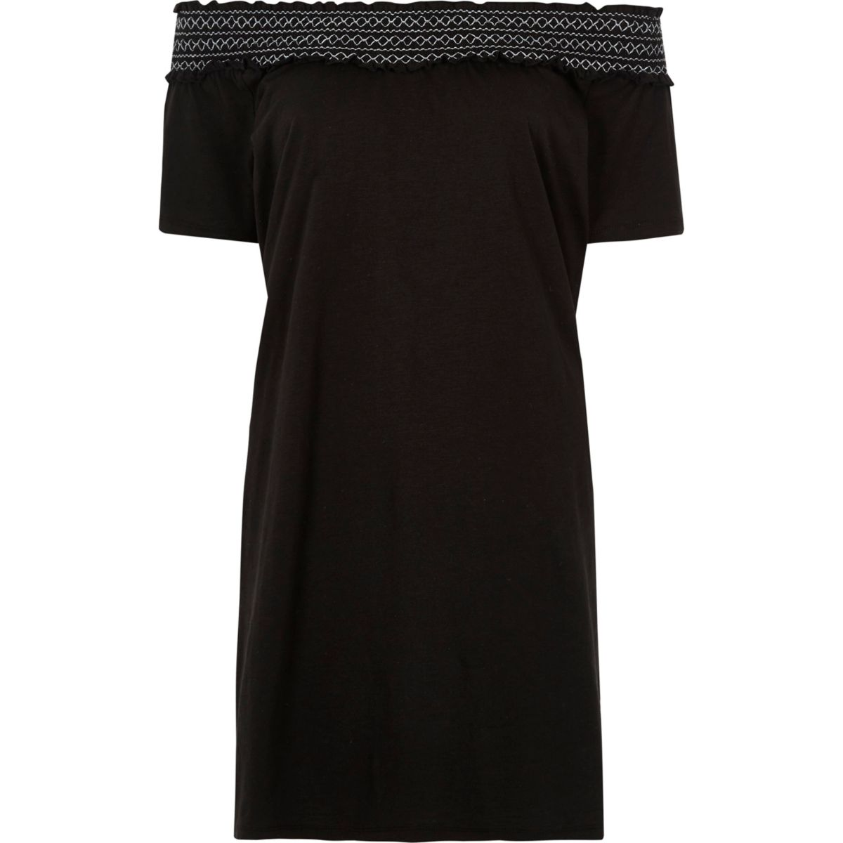 Schwarzes, kurzärmliges, gesmoktes Bardot-Kleid