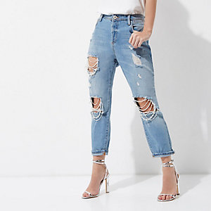 Petite mid blue Ashley ripped boyfriend jeans
