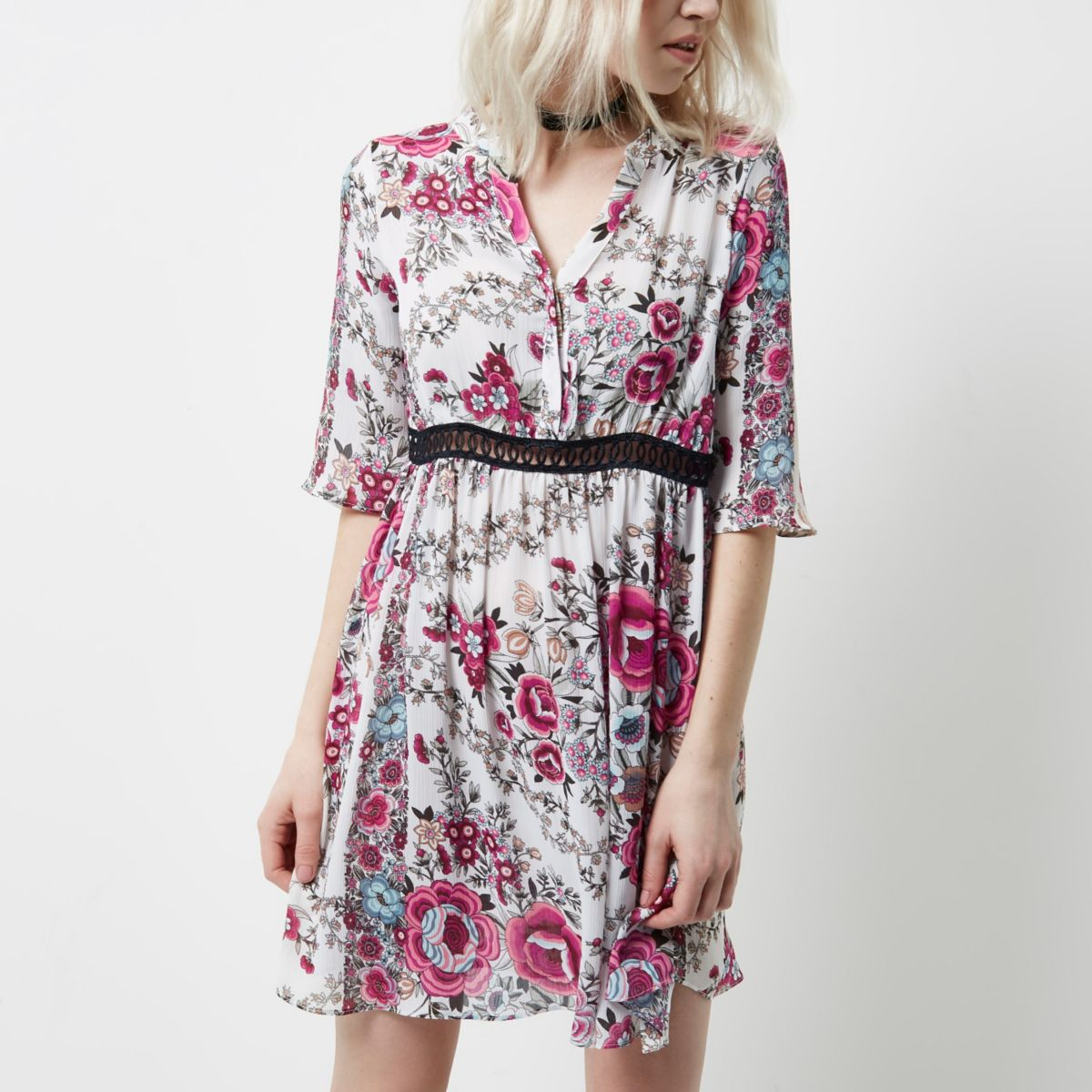Petite pink floral print smock dress