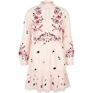 Petite pink floral embroidered smock dress