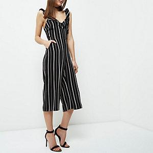 Petite black stripe frill culotte jumpsuit