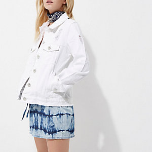 Petite white distressed denim jacket
