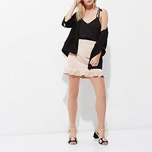 Petite light pink frill hem mini skirt