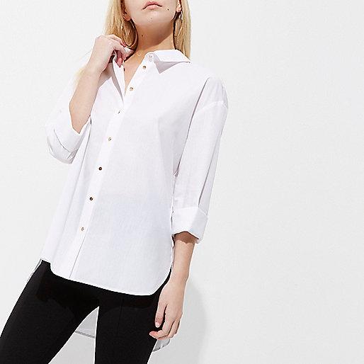 Petite white tie back shirt