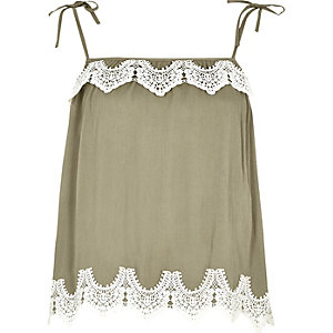 Khaki green lace trim bow shoulder cami top