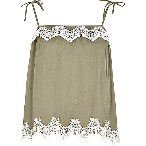 Khaki green lace trim bow shoulder cami top