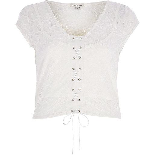 Cream lace corset front crop top