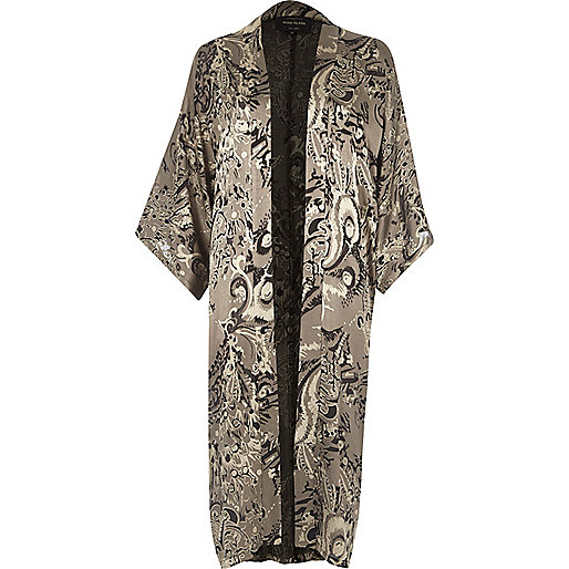 Grey burnout paisley print kimono
