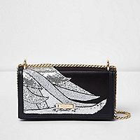 Black glitter swirl underarm chain bag