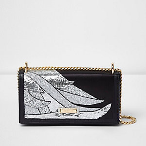 Black glitter swirl underarm chain bag