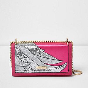 Pink glitter swirl underarm chain bag