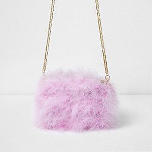 Mini sac à bandoulière chaîne rose orné de plumes