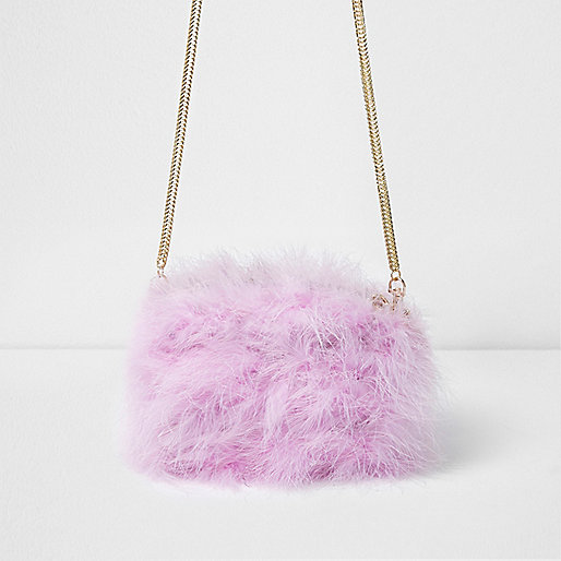 Pink feather cross body mini chain bag