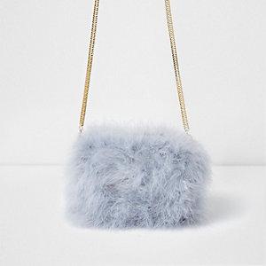 Mini sac à bandoulière chaîne gris orné de plumes
