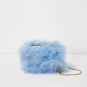 Mini sac à bandoulière chaîne bleu orné de plumes
