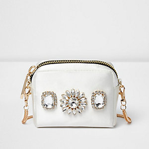 Mini sac à bandoulière blanc orné de pierreries