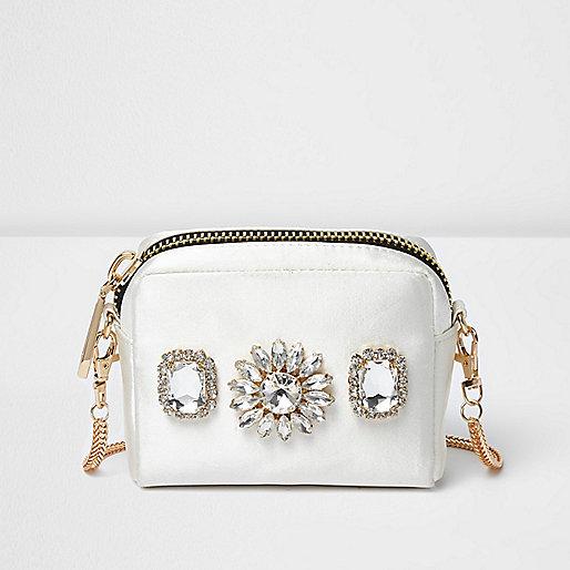White jewelled mini cross body bag