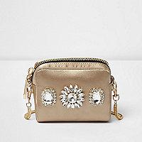 Gold jewelled mini cross body bag