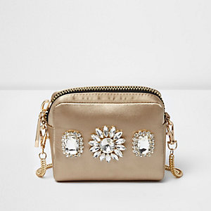 Mini sac à bandoulière doré orné de pierreries