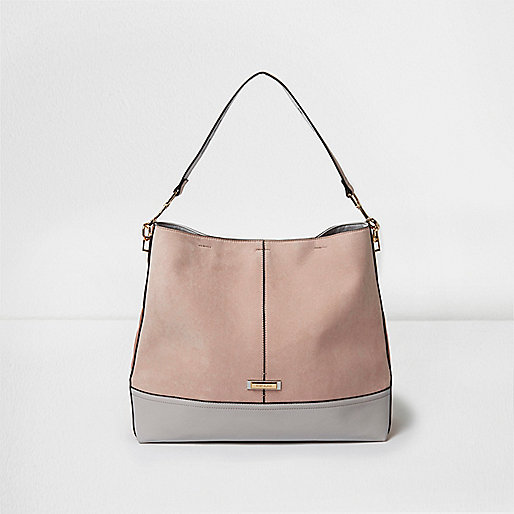 Light pink panel slouch underarm bag
