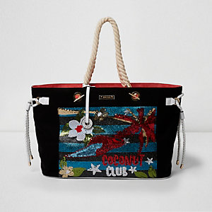 Black 'coconut club' sequin beach bag