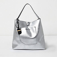Silver metallic reversible underarm beach bag