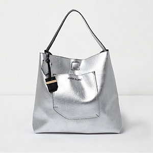 Silver metallic reversible underarm beach bag