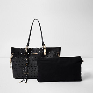 Black laser cut chain beach tote bag