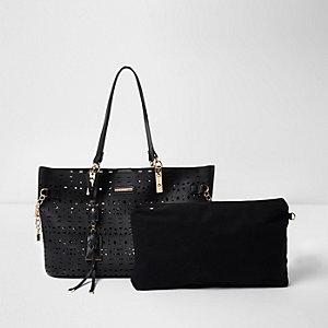 Schwarze Strandtasche mit Laserschnittmuster
