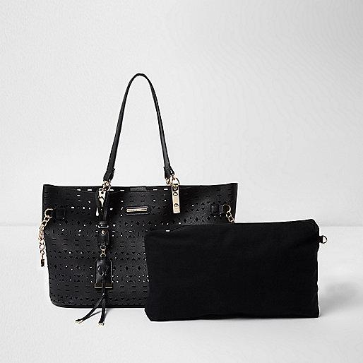 Black laser cut chain beach tote bag