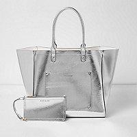Strandtasche in Silber-Metallic