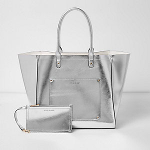Silver metallic winged tote beach bag