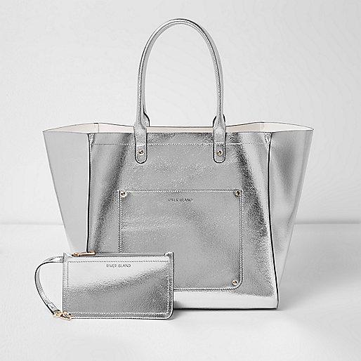 Silver metallic winged tote beach bag