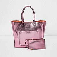 Pink metallic winged tote beach bag