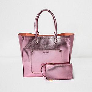 Roze metallic strandtas met zij-inzetten