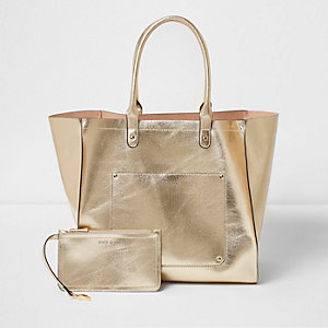 Gold metallic winged tote beach bag