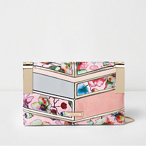 Pink floral print panelled clutch chain bag