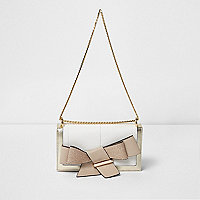 Beige bow front foldover clutch chain bag